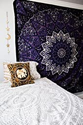 Popular tapestry Twin Hippie Mandala Bohemian Psychedelic Intricate Floral Design Indian Bedspread Magical Thinking Tapestry 84x54 Inches,(215x140cms) Blue Purple By Popular Handicrafts