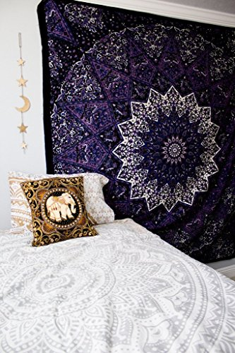 Popular Handicrafts Popular Tapestry Twin Hippie Mandala Bohemian Psychedelic Intricate Floral Design Indian Bedspread Magical Thinking Tapestry 84x54 Inches,(215x140cms) Blue Purple (Best Chair For Indian Head Massage)