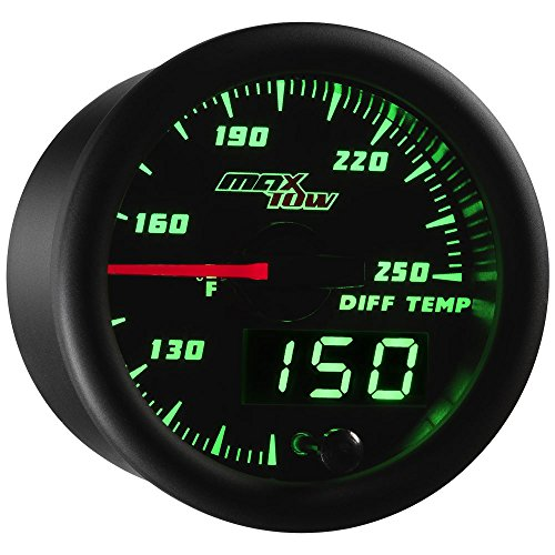 (MaxTow Double Vision 250 F Rear Differential Temperature Gauge Kit - Includes Electronic Sensor - Black Gauge Face - Green LED Illuminated Dial - Analog & Digital Readouts - for Trucks - 2-1/16