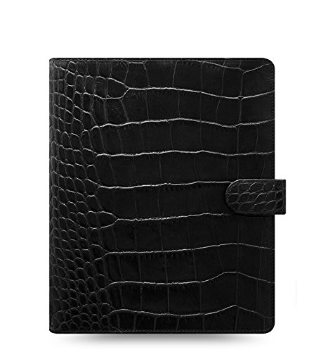 Classic Leather Ring - Filofax Classic Croc A5 Size Leather Organizer Agenda Ring Binder Calendar with DiLoro Jot Pad Refills Ebony 2019 and Any Year Refill 026071