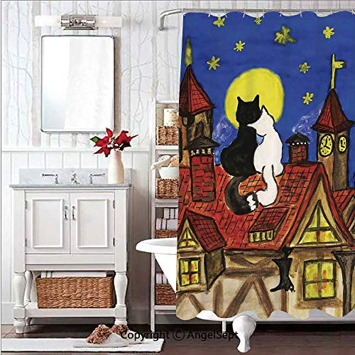 Soft,Non Toxic,Eco-Friendly,No Chemical Odor Shower Curtain Bath Curtain 71x71in Two Love Cats Sitting on Roof in Old Town and Looking at Starry Sky Night Funk ArtprintMulti Decorative Design R Plas