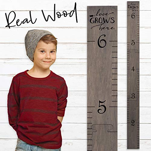 Wooden Ruler Growth Chart Ruler | Gray Height Chart Ruler for Boys & Girls | Love Grows Here for Boys & Girls | Gray Washed]()