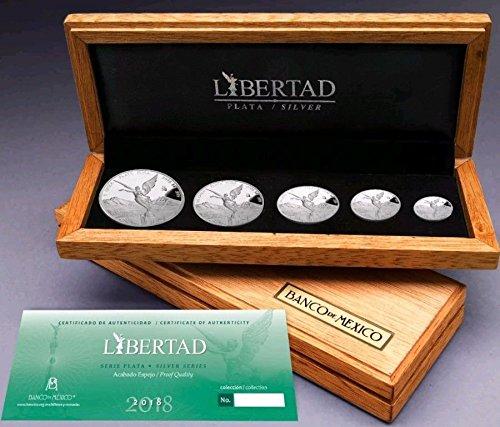 2018 1/20,1/10,1/4 Oz,1/2 Oz,1 Oz MEXICAN LIBERTAD Set Coins. (Silver Mexican Coin Set)