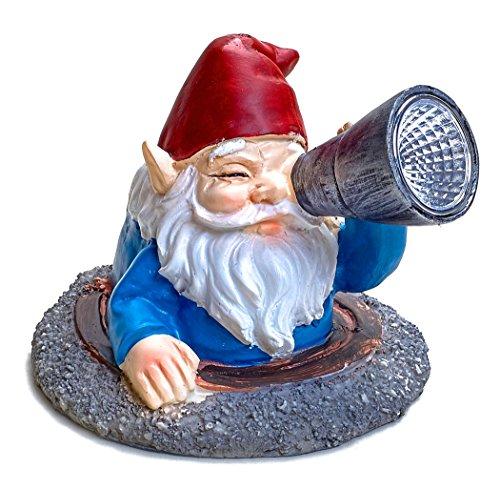 Solar Powered Gnome in Manhole cover LED Garden Light Decor