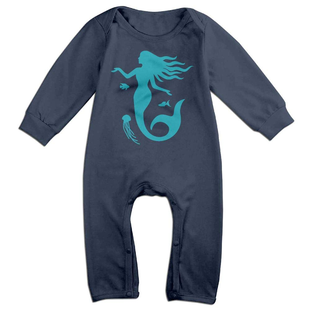 Newborn Kids Jumpsuit Mermaid Silhouette Infant Long Sleeve Romper Jumpsuit