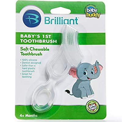 Brilliant Baby's 1st Toothbrush Teether - Premium Silicone First Toothbrush for Babies and Toddlers - Kids Love Them, Clear, 1 Count : Childrens Toothbrushes : Baby