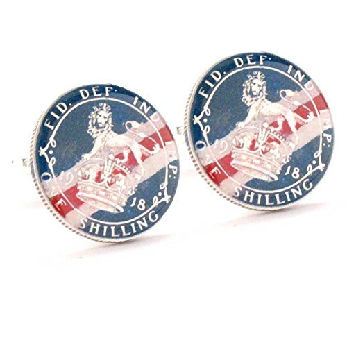 Silver Shillings Cufflinks Cuff Links Coin British UK King Crown Queen Royal England Seal WWI by Marcos Villa (Image #3)