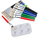 Shappy 16 Pieces Large Flat and Round Children's Paint Brushes with Painting Tray, Assorted Color