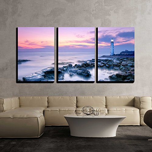 wall26 - 3 Piece Canvas Wall Art - Lighthouse - Modern Home Decor Stretched and Framed Ready to Hang - 24