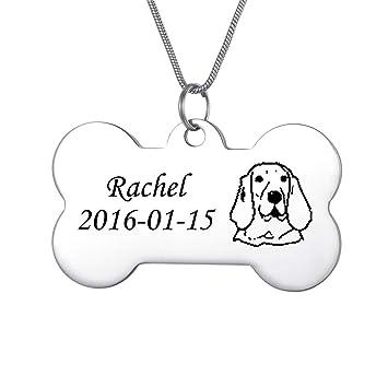 Gratis Anillo-azul Etiqueta de identificación de mascotas Grabado personalizado-Grande Forma de Hueso