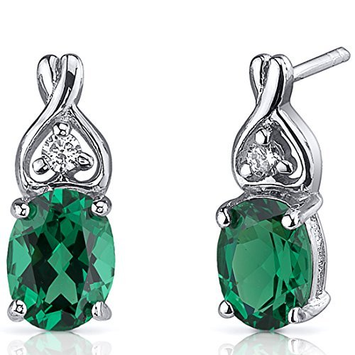 Simulated Emerald Earrings Sterling Silver 2.00 Carats CZ Accent by Peora