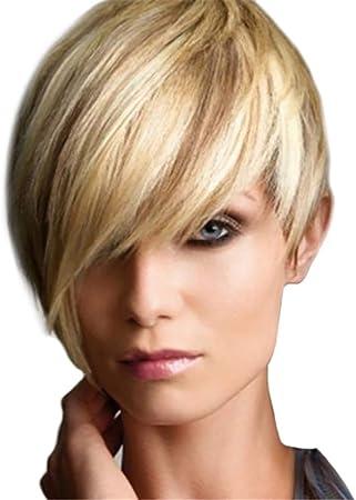 Postizos Peluca de pelo recto corto para mujeres Moda resistente ...
