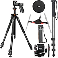 Vanguard Alta Pro 263AGH Aluminum Tripod Kit, 72-Inch Monopod with Quick Release, Ritz Gear Cleaning Kit and Ritz Gear Tripod Stone Bag