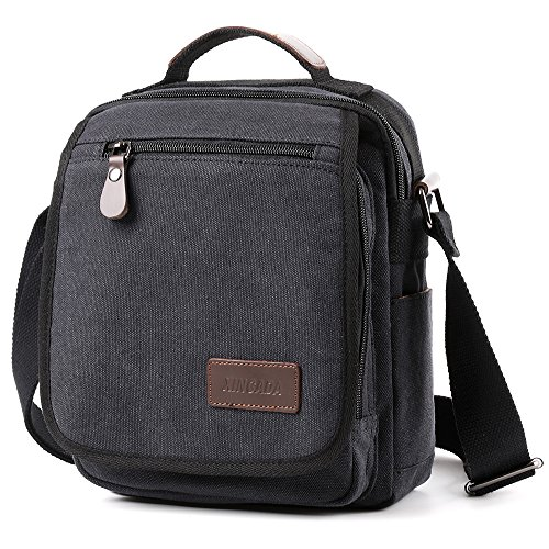 XINCADA Mens Bag Messenger Bag Canvas Shoulder Bags Travel Bag Man Purse Crossbody Bags for Work Business (black) by XINCADA (Image #1)