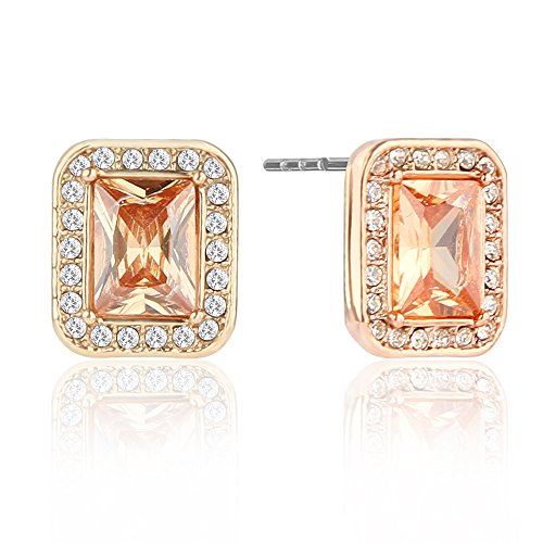 Rose Gold Earrings Studs with Rectangle Cubic Zirconia Halo Earrings Post Earrings Yellow for ()