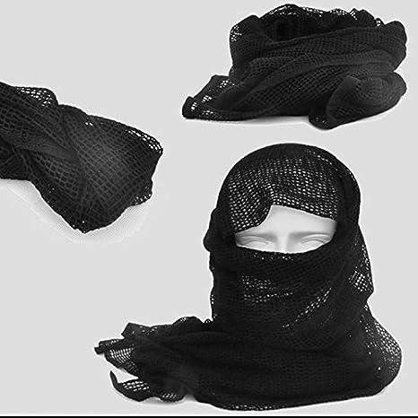 Forfar Beautyrain Nouveau en Plein air /Écharpe en Maille Tactique Masque Enveloppant Shemagh Voile de Sniper 68x33 Camo Noir Khaki OD Cadeau