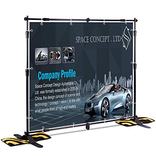 (T-Sign 8'x8' Professional Backdrop Banner Stand Large Tube Heavy Duty Telescopic Step and Repeat for Photo Booth Background and Trade Show with Carrying Case and Sand Bags for Free)