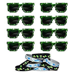 8-Bit Pixelated Sunglasses Birthday Party Favors (8 Pack) with 8 Pixelated Wristands Included - Party Bag Fillers for Miner Themed Parties