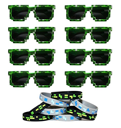 8-Bit Pixelated Sunglasses Birthday Party Favors (8 Pack) with 8 Pixelated Wristands Included - Party Bag Fillers for Miner Themed - Gamer 8bit