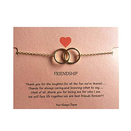 Circle Bracelet Friendship Of (Your Always Charm Double Heart Infinity Knot of Friendship Bracelets (Gold 2 Circle))