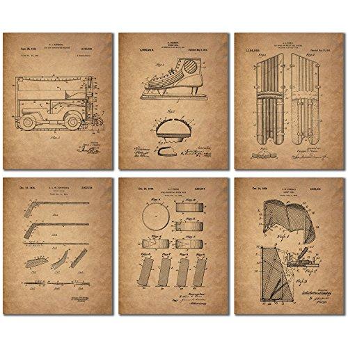 Hockey Patent Prints - Set of Six Vintage Wall Art Photos
