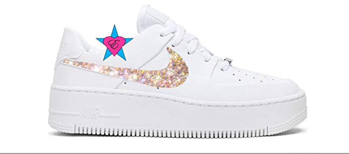 Image Unavailable. Image not available for. Color  Custom Crystal Bling  Swoosh White Women AIR FORCE 1 SAGE LOW   ... 82fb1cab2504