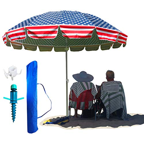 Party With Pride Giant 8' Beach Umbrella, Patriotic USA Flag, Includes Large Sand Anchor/Hanging Hook/Carry Bag/UV Protection from Sun/Windproof/Adjustable & Telescoping (American Flag)