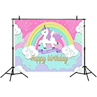 Funnytree 7x5ft Polyester Unicorn Flying in the Rainbow Sky Photography Backdrop Cartoon Background for Girls Birthday Celebration