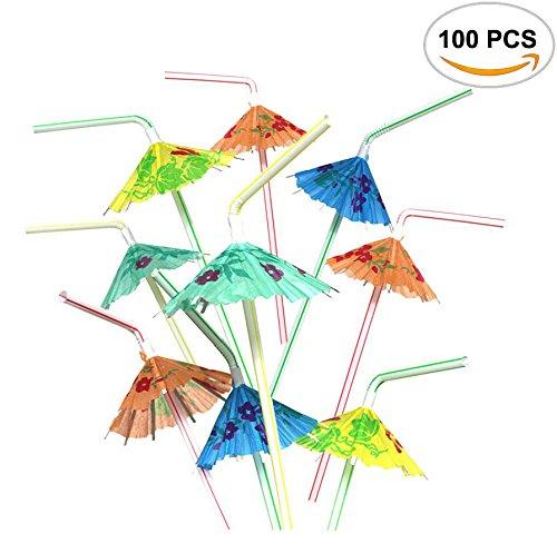 Hawaiian Umbrella (100PCS Mseeur Multicolored Hawaiian Umbrella Parasol Disposable Bendable Drinking Cocktail Straws - For Island Themed Party, Kitchen Supplies, Bars, Restaurants Fun Summer Party BBQ.)