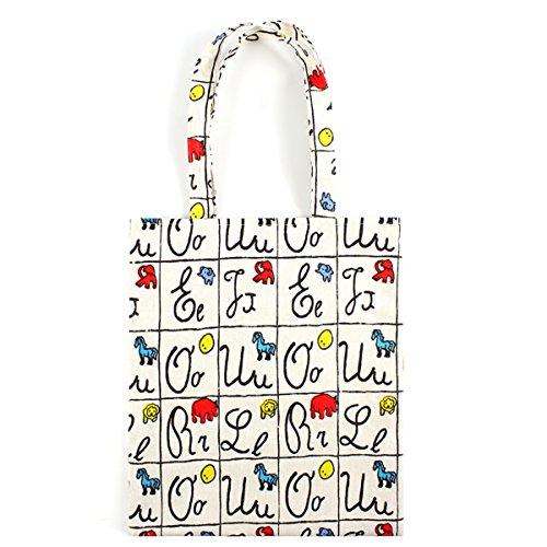 Flowertree Women's Cotton Alphabet Print Canvas Tote Shopping Bag Beige ()