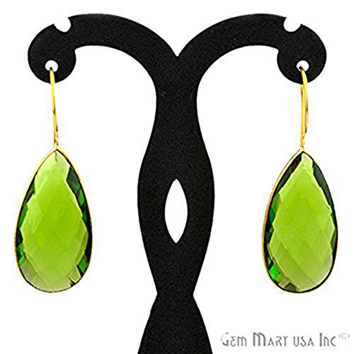 Handmade Hydro Peridot, Smooth Bezel Pears shape Connector Earring, 16x47mm 24k gold plated (PHER-90003) ()