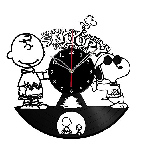 Charlie Brown & Snoopy Vinyl Record Wall Clock Fan Art Handm