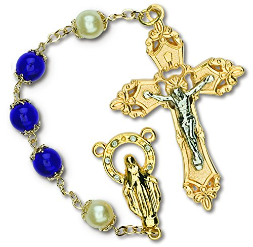 RY 639-RC 	DLX GLASS ROSARY-BLUE - RC203