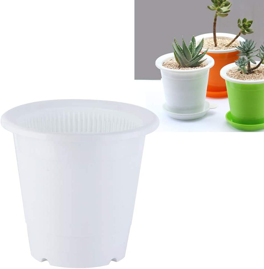 White Yardwe 2PCS 5 Inches Plastic Orchid Pots with Holes for Plant Flower Pot 2 Inner Pot,2 Outer Pot