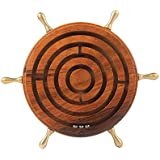 Handmade Wooden Game Nautical Wheel Shape Labyrinth Ball Maze Puzzle Board Toy for Kids