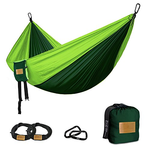Raku Camping Hammock, 660lb Portable Lightweight Parachute Nylon Fabric Hammock for Outdoor, Hiking, Camping, Backpacking, Travel, Backyard, Beach,1 YEAR WARRANTY