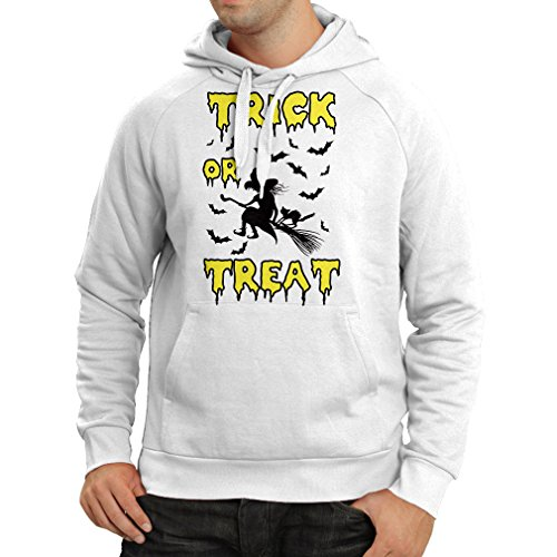 lepni.me Hoodie Trick or Treat - Halloween Witch - Party outfites - Scary Costume (X-Large White Multi Color) -