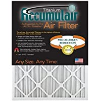 Accumulair Titanium 15x20x1 (14.5x19.5) High Efficiency Allergen Reduction Air Filter/Furnace Filter