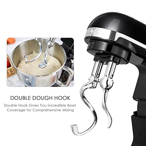 Aicok Stand Mixer, 500W 6-Speed 5-Quart Stainless Steel Bowl, Tilt-Head Food Mixer Kitchen Electric Mixer with Double Dough Hooks, Whisk, Beater, Pouring Shield, Black by Aicok (Image #2)