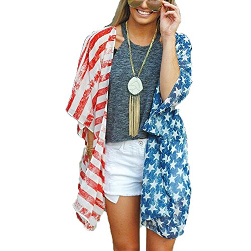 Askwind 4th of July Women's American Flag Print Kimono Cover Up Tops Shirt (A1)]()