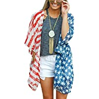 Happy GoGo 4th of July Women's American Flag Print Kimono Cover Up Tops Shirt