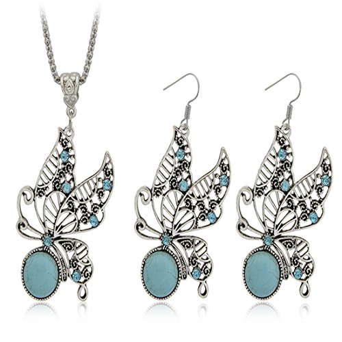 JewelleryClub Butterfly Set Silver Plated Swarovski Elements Crystal Turquoise Necklace and Earrings ()