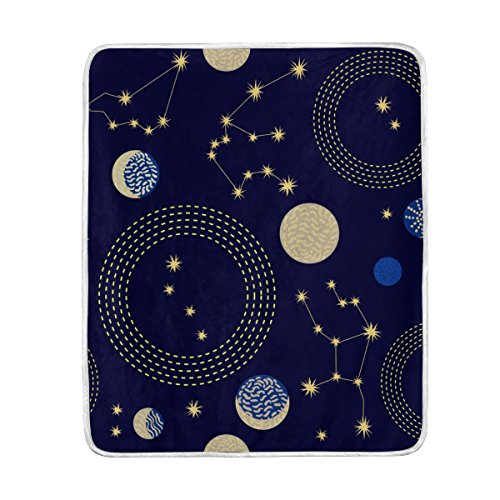 Cooper girl Solar System Planet Throw Blanket Soft Warm Bed Couch Blanket Lightweight Polyester Microfiber 50x60 Inch by ALAZA