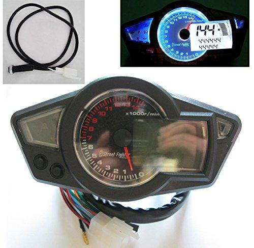 Universal 14000 rpm LCD Digital Velocí metro Tacó metro Cuentakiló metros Motocicleta mph km / h 199 kmh X & F