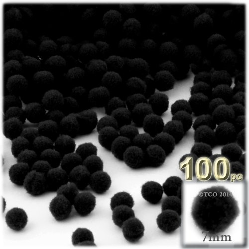7 Mm Pom Poms - The Crafts Outlet 100-Piece Multi Purpose Pom Poms, Acrylic, 7mm/0.28-inch, Round, Black