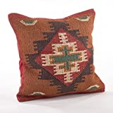 Fennco Styles Home Décor Kilim Collection Down Filled Decorative Throw Pillow - 20'' Square (Geometric)