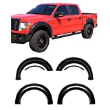 Galaxy Auto Fender Flares 2009-14 Ford F150 (Styleside ONLY) - Pocket Riveted Style in Paintable Smooth Matte Black - 4 Piece Set