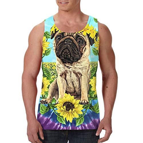 Mens Sunflower Pug Daydream Funny Pugs 3D Printed Sleeveless Tank Top/Tops Sport Gym Vest Shirt Black ()
