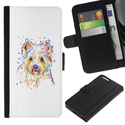 EuroCase - Apple Iphone 6 PLUS 5.5 - Yorkshire terrier Brussels griffon dog - Cuero PU Delgado caso cubierta Shell Armor Funda Case Cover