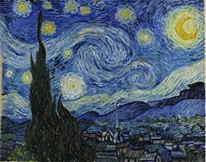 Linen Canvas ,the High Resolution Art Decorative Canvas Prints of oil painting 'Vincent Van Gogh-The Starry Night,1889', 12x15 inch / 30x39 cm is best for Game Room gallery art and Home artwork and Gifts